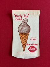 "1960's, Dairy Queen, ""Un-Used"" ""Curly Top"" Cone Wrapper (Scarce / Vintage)"