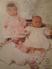 """Knitting Pattern Dolls Premature Babies Clothes Dress Knickers Shoes 12-22"""" 4Ply"""