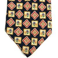 Pierre Cardin Men's Silk Colorful Dark Navy Blue Floral Necktie Tie Made Italy