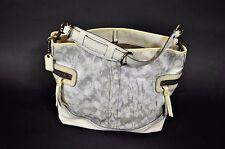 Coach Silver White Leather Signature C Logo tie Dye Canvas Shoulder Bag Purse