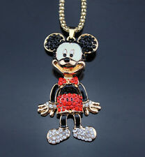 AF608 Betsey Johnson Enamel Crystal Cartoon Mouse Pendant Sweater chain Necklace