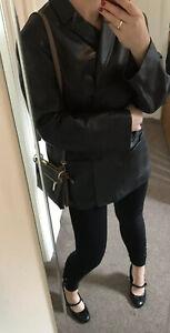 Gerry Weber Womens  Vintage 90s Black Real Leather Jacket Blazer Uk 22