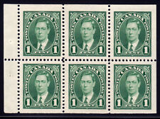 Canada #231b - King George VI Mufti Issue, 1 cent Green Booklet Pane of 6, 1937