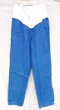Maternity Scrub Pants XL Blue Denim Jeans White Stretch Panel Elastic Waist New