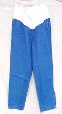 Maternity Scrub Pants L Blue Denim Jeans White Stretch Panel Elastic Waist New