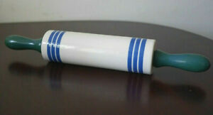 Sadler Blue & White Striped Vintage Ceramic Rolling Pin with Wooden Handles