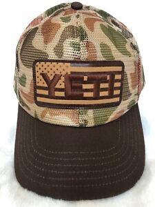 YETI USA FLAG HAT LTD. ED. * CAMO BROWN! * MESH HAT BRAND NEW w/TAGS Ships FREE!