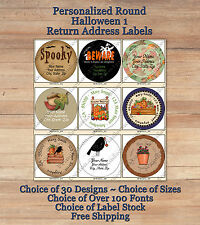 Colourful Whimsical Custom HALLOWEEN 1 FALL Address ROUND Labels Pumpkins Crow