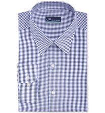 $75 JOHN ASHFORD Men REGULAR-FIT WHITE BLUE CHECK BUTTON DRESS SHIRT 16.5 34/35