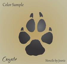 "Stencil 3"" Coyote Paw Print Track Wild Animal Hunt Rustic Lodge Cabin Art Signs"