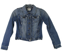 2.1 Denim Jacket Jeans S Blue Womens Trucker Jacket Med Wash Distressed
