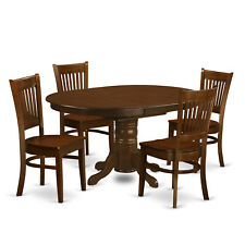 5pc oval dinette kitchen dining room set table w/ 4 wood seat chairs in espresso