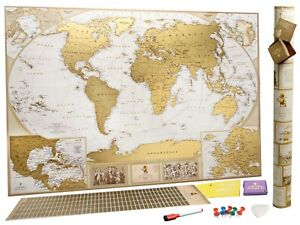 Antique Scratch off world map XXL Large scratch off map Push pin map Gift Poster