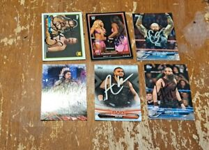 Lot of 6 Autographed Wrestling Cards