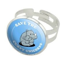 Save the Curvy Unicorns Rhino Funny Humor Silver Plated Adjustable Novelty Ring