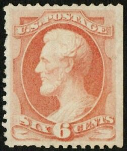 US Sc# 159 *MINT NO GUM H* { -VF- 6c DULL PINK LINCOLN } GREAT BANKNOTE OF 1873