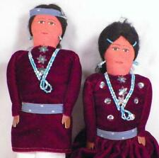 2 Native American Indian Dolls Brave & Squaw Dressed Up Cloth 12.5 inch