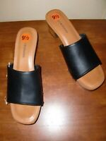 NEW~LUCKY BRAND~LK-FINEENA~BLACK LEATHER~OPEN TOE~SLIDES~SHOES HEELS SIZE 9.5M