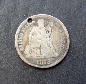 """1878 US SEATED LIBERTY DIME LOVE TOKEN ENGRAVED """" 1881 ? """""""