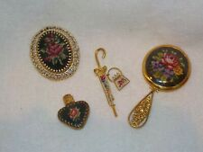 Lot Of 4 Vintage Petit Point 2 Brooches & Mirror & Mini Perfume Bottle