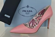 PRADA 1I939F BEGONIA PINK LEATHER POINTED TOE FLORAL CLASSIC PUMPS 39.5 ITALY