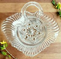 Pressed glass leaf dish with vine handle unusual shape vintage