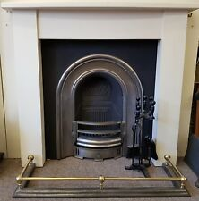 Stylish Replica Arts and Crafts Stone Fireplace with Cast Iron Arched Insert