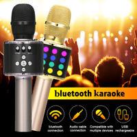LOSKII Wireless 4 in 1 bluetooth Karaoke Microphone Speaker LED Lights  W@@