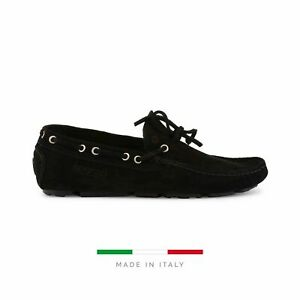 Sparco Magny-Cours-GP Black Shoes Moccasins in Suede