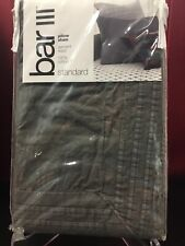 Bar Iii Garment Wash Standard Pillow Sham Dark Gray Carbon 100% Cotton Nip $35