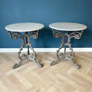 Antique Side Table Cast Iron And Marble Top Bistro Tables Granite French Round
