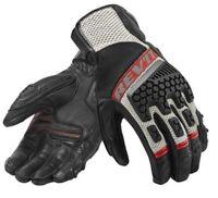 Guanti pelle tessuto moto Rev'it Sand 3 nero rosso black red gloves estivi