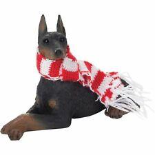 Sandicast Lying Black Doberman Pinscher w/ Scarf Christmas Dog Ornament