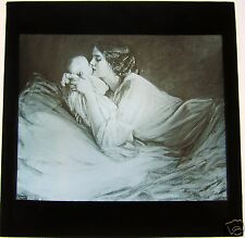 Glass Magic Lantern Slide EDWARDIAN LADY WITH BABY C1910