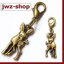 Charm Anhänger alt- gold bronze > Reh Rehkitz Bambi 3D