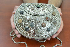 AGATE STONE BEADS HANDMADE BRASS METAL PURSE #8049