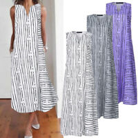 ZNAZEA Women Sleeveless V Neck Ladies Summer Beach Party Striped Mid-Calf Dress