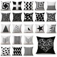 Geometric Cushion Cover Home Sofa Throw Pillow Case Decor Black & White Linen
