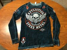 MENS AFFLICTION BUCKLE BRAND LONG SLEEVE REVERSIBLE THERMAL SHIRT SIZE LARGE