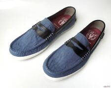 new mens COLE HAAN Pinch Weekender navy canvas/leather loafers slip-on shoes 10