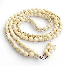 Howlite Turquoise Skull Tibet Buddhist 108 Prayer Beads Mala Necklace---10mm*8mm