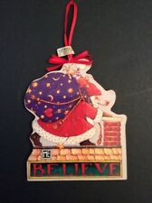 Mary Engelbreit Believe Santa Wood Christmas Ornament Midwest Chimney Bag Toys