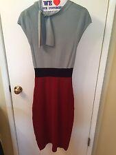 ANTHROPOLOGIE Charlie & Robin Tie Neck Colorblock Sweater Dress Sz S M