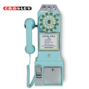 NEW Crosley CR56-AB 1950's Push Button Rotary Classic Pay Phone - Aqua Blue