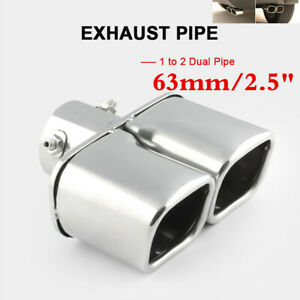 63mm Stailess Steel Car Exhaust Pipe Inlet Tips Muffler Dual Pipes Tail Throat