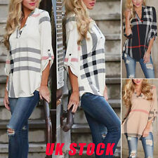 UK Hot Womens Ladies Casual T Shirt Plaid Long Sleeve Shirt Loose Blouse Tops