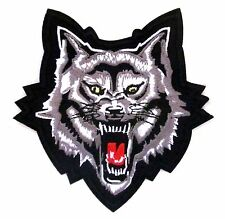 Roaring Wolf On Black Iron On Patch- Embroidered Appliques Animal Zoo Sew Crafts