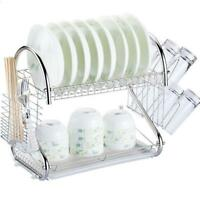 2-Tier Multi-function Stainless Steel Dish Drying Rack,Cup Drainer Strainer
