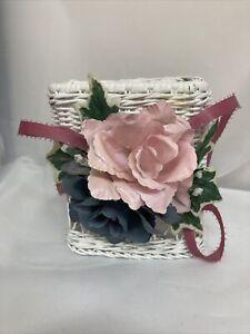 Tissue box cover holder Rose Cabbage Shabby chic wicker rattan white cottagecore