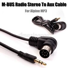 RADIO STEREO 8 PIN M-BUS DIN CABLE CORD TO 3.5MM MINI JACK AUX IN MP3 Black